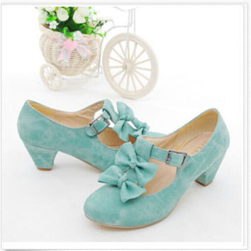 PXELENA New Spring Womens Mary jane Lolita Bowtie Court Pumps Faux Suede Block Low Heel Pumps Shoes Plus Size
