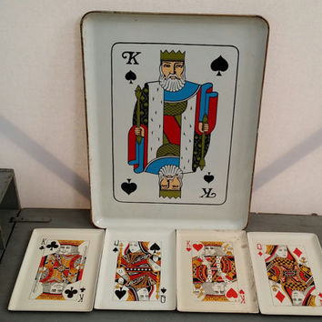 Vintage Melamine Playing Card Snack Trays and Serving Tray Great Retro Game Room Decor Perfect for Game Night Poker Night