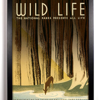 Wild Life 1930s Americana Print,  8 x 10 Vintage Upcylced  National Park Ranger Posters, Buy 2 get 1 FREE