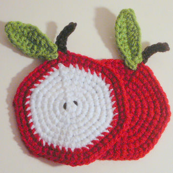 Apple Coasters PDF Crochet Pattern INSTANT DOWNLOAD