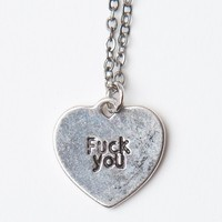 FUCK YOU HEART SILVER NECKLACE
