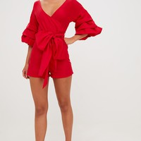Red Frill Sleeve Tie Waist Playsuit