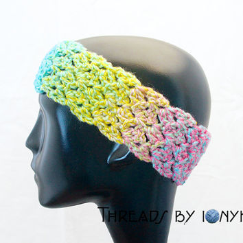 Crochet Handmade Headband, Earwarmer, Thick, Rainbow, Multicolor, Headwarmer, Womens Fashion, Winter Accessories - READY TO SHIP
