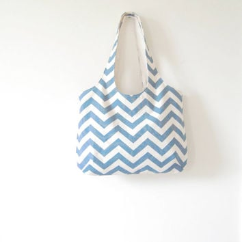 Blue Chevron Tote, Denim Blue Chevron Tote, Gym Bag, Library Bag, Beach Bag, Made to Order