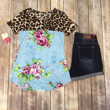 Turquoise Floral/ Leopard Top