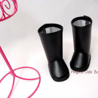"""18"""" Dolls and American Girl Dolls Boots Black Faux Leather Boots"""