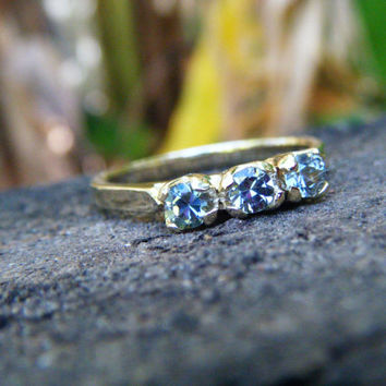 Light blue sapphire ring, blue sapphire eternity ring, blue sapphire engagement ring, color change sapphire, three stone ring, ExquisiteGem