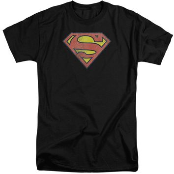 Dc - Retro Supes Logo Distressed Short Sleeve Adult Tall Shirt Officially Licensed T-Shirt