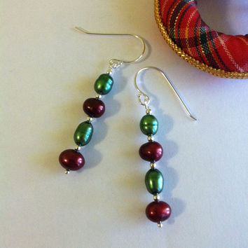 Christmas Pearl Earrings Hand Made Red Green and Sterling Silver Freshwater Pearl Earrings