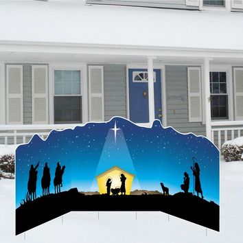 Christmas Nativity Lawn Display - Yard Sign Decoration - 4'x8' - Free