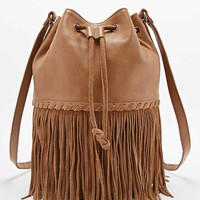Ecote Suede and Leather Fringe Duffle Bag in Tan - Urban Outfitters