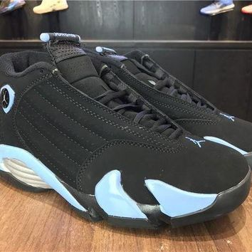PEAPVX Jacklish Air Jordan 14 Retro Black/university Blue-metallic Silver Mens For Sale