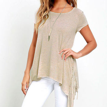 Summer Women's Fashion Hot Sale Tassels Knit Short Sleeve T-shirts [6313098692]
