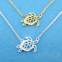 Sea Turtle Tortoise Shaped Pendant Necklace in Gold or Silver | DOTOLY