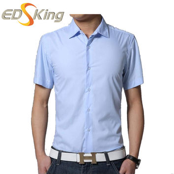 Men Casual Short Sleeve Dress Shirts Wine Red Fashion Fitted Brand Slim Fit Man Shirts Camisas Social Hombre Vestir Pattern 2016