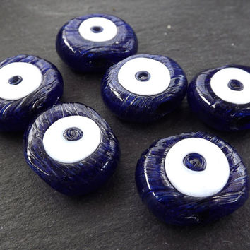 6 Navy Blue Evil Eye Nazar Glass Bead - Traditional Turkish Handmade Protective Lucky Amulet  26 mm - VALUE PACK