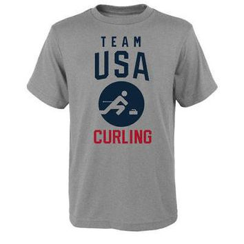 Licensed Sports Team USA Youth 2018 Winter Olympics Curling Team Sport Pictogram T-Shirt - KO_20_2