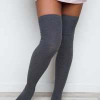 Aimee Thigh High Socks - Charcoal