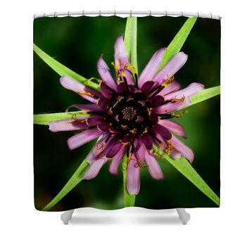 Green shower curtain, green bathroom decor, floral shower curtain, flower power, floral bathroom, light purple, dark green, green and purple