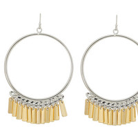 Jessica Simpson Two-Tone Fringe Hoops