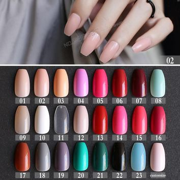 New hot  False Coffin nails Rose Soft Pink Nude Red Brown Blue Fake nail Ballerinas nail Designs Pure colour candy Purple White