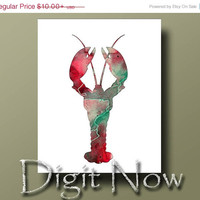 ON SALE LOBSTER Silhouette Watercolor Print Poster Kitchen Art Decor Wall Art W14079