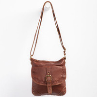 Flower Stitch Faux Leather Crossbody Bag Cognac One Size For Women 24231440901