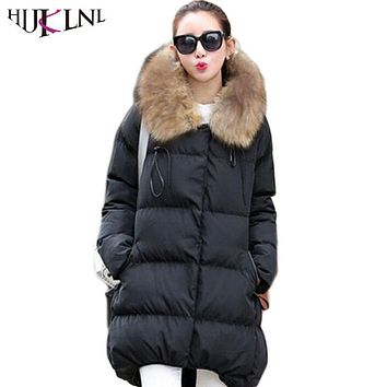 HIJKLNL 2017 Coat Parkas 5XL Women's Winter Jackets Fur Collar Large size High Quality Veste Hiver Femme Warm Parka Hood JX083