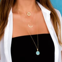 Chalcedony necklace / Long chain necklace / Aqua chalcedony / Layered gold necklace / Blue Chalcedony / Bridal Shower gift | 0202NM