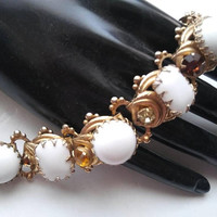 ON SALE Vintage Chunky Rhinestone & Milk Glass Bracelet Huge Stones 1950's Collectible Jewelry Rare Superb High End Quality Nice Weight To I