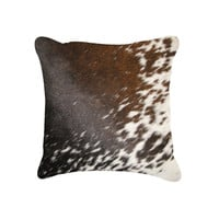 "18"" x 18"" Salt&Pepper Brown&White Cowhide Pillow"