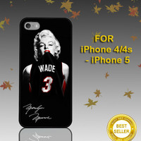 Marilyn Monroe Miami Heat Dwyane Wade - Photo on Hard Cover - For iPhone Case ( Select An Option )