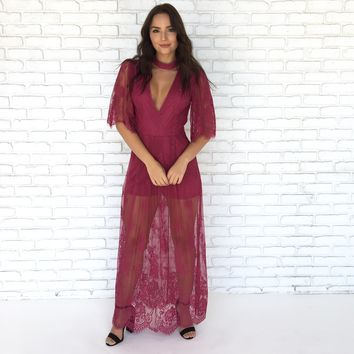Mademoiselle Lace Maxi Dress in Magenta Pink