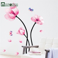 DIY Watercolor Flower Wall Stickers Living Room Bedroom TV Background Home Decor Refrigerator Decals Wallpaper Decoration