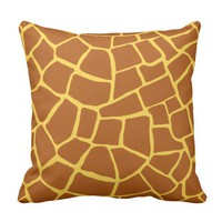 Chocolate Brown Giraffe Skin Pattern Throw Pillow