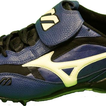 Mizuno Men's 9 Spike Pro Classic Low Metal Baseball Cleats ~ Blue/Black