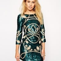 Needle & Thread Contour Ornate Long Sleeve Dress at asos.com