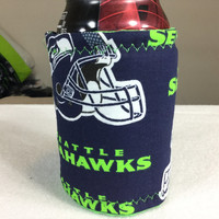 Seattle Seahawks can cozy-Seahawks insulated can cozy-Seahawk tailgate beverage cozy-stocking stuffers-insulated beverage cozy