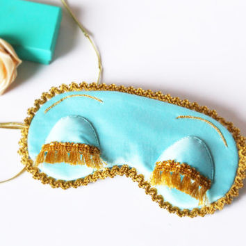 Holly Golightly sleep mask - Audrey Hepburn night beauty mask - Breakfast at Tiffany's party favor - Satin eye pillow - Bachelorette party