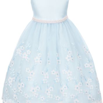 Baby Blue Satin with Floral Embroidered Crystal Organza Overlay Occasion Dress (Girls Sizes 2T - 12)