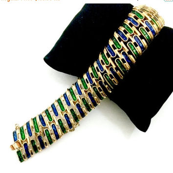 Crown Trifari Link Bracelet, Sapphire Blue And Emerald Green Enamel, Articulated Curved Links, Rich Gold Tone Metal, Designer Signed