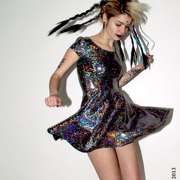 Hologram Rainbow Skater Dress by DEVOWEVO