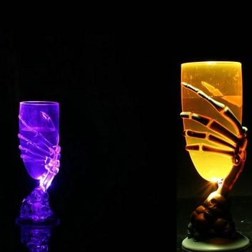 Glowing Wine Cup Claw Party Spooky Skeleton SKull Halloween Goblet LED Scary halloween decoration horror accessories
