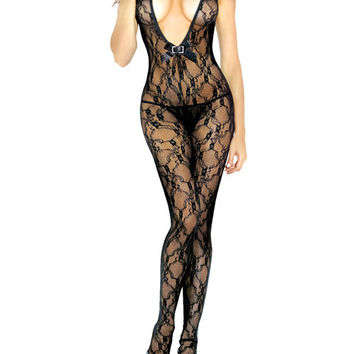 Desire Hosiery Floral Lace Bodystocking QUEEN