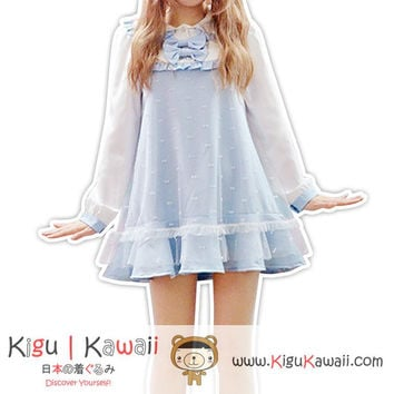 New Kawaii Blue Japanese Style Dress Lolita Harajuku Fashion Cosplay KK793
