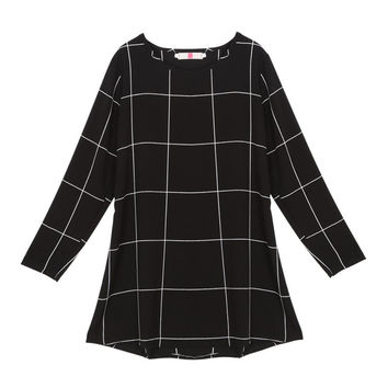 Free Style Women Mini O-Neck Neck Plaid Dress Long Sleeve Swing Party Casual XL Dresses Plus Sizes SM6