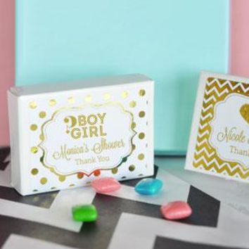 Personalized Metallic Foil Gum Boxes - Baby