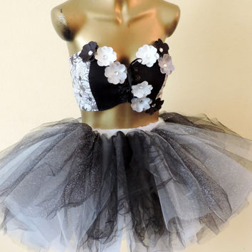 adult tutu, adult tutu dress, steampunk outfit, goth gothic outfit, black white flowers spiders, halloween costume for women, sexy costume