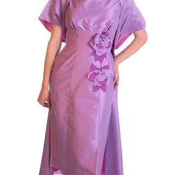 Vintage Dress & Coat Purple Changeable Taffeta  1950s 32-25-35