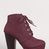 Round Toe Lace Up Bootie